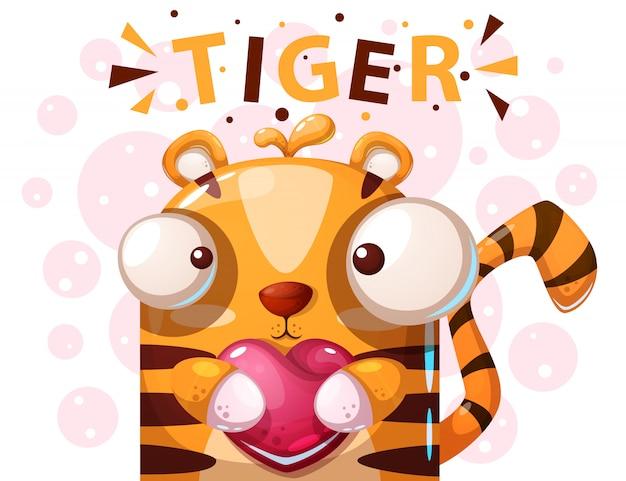 Personagem de tigre bonito - ilustração dos desenhos animados Vetor Premium