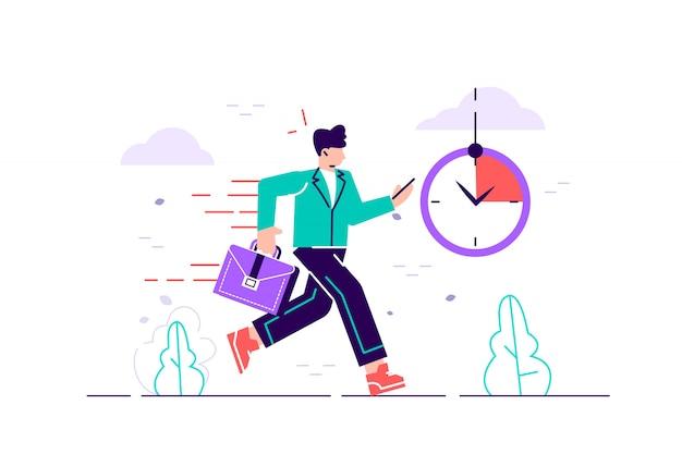 Personagem de trabalhador de escritório correndo com as costas em chamas. prazo e hora do rush. Vetor Premium