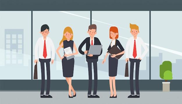 Personagem de trabalho em equipe de pessoas de negócios para animação. Vetor Premium