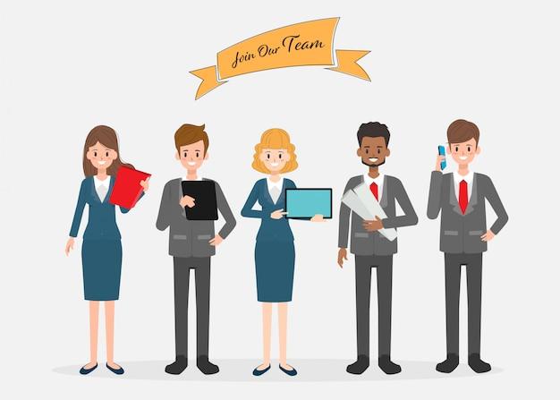 Personagem de trabalho em equipe de pessoas de negócios. Vetor Premium