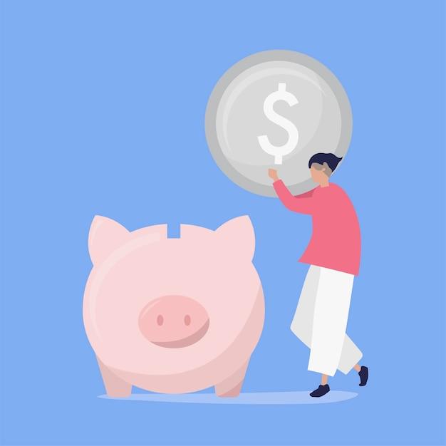 Personagem de um homem economizando dinheiro em uma ilustração de cofrinho Vetor grátis