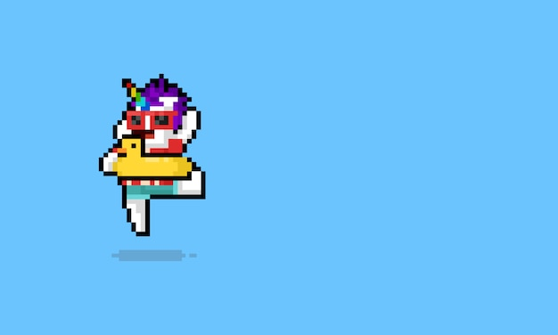 Personagem de unicórnio de verão feliz de desenho de arte pixel Vetor Premium