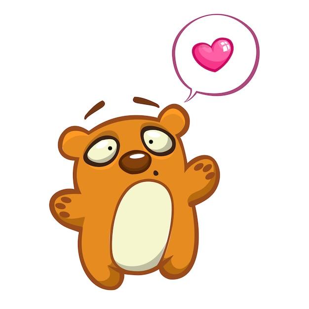 Personagem de urso bonito dos desenhos animados. ilustração de um urso acenando a mão. Vetor Premium