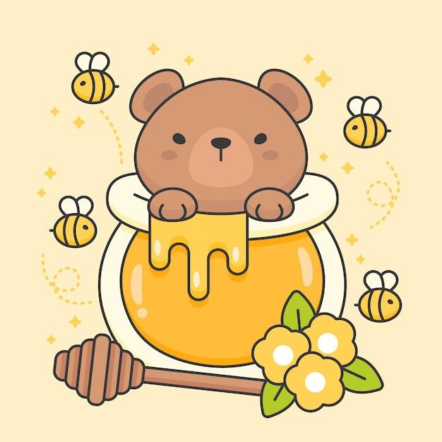 Personagem de urso fofo em um pote de mel Vetor Premium