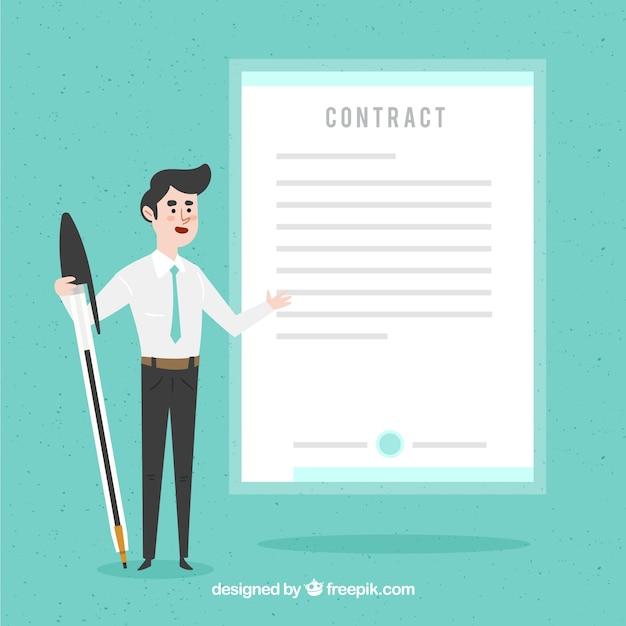 Personagem de vendedor plana segurando o documento do contrato Vetor grátis