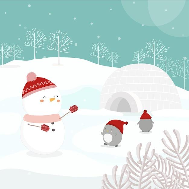Personagem de vetor com boneco de neve e pinguins na neve Vetor grátis