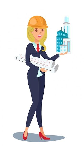 Personagem de vetor de arquiteto. mulher, segura, arranha-céu Vetor Premium