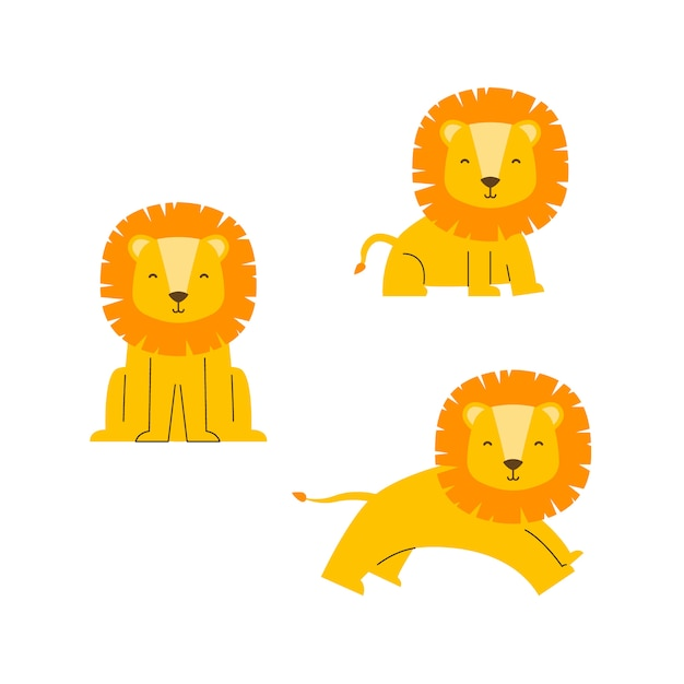 Personagem de vetor de leão bonito Vetor Premium