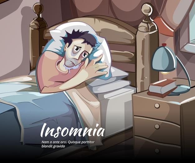 Personagem de vetor sem dormir. insônia e insônia, ilustração de pessoa no quarto Vetor grátis