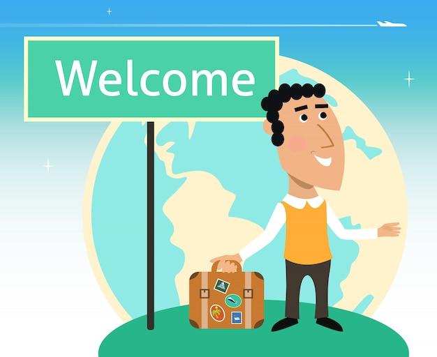Personagem de viajante de férias ou negócios Vetor grátis