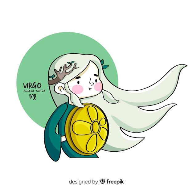 Personagem de virgem de guerreiro desenhada de mão Vetor grátis