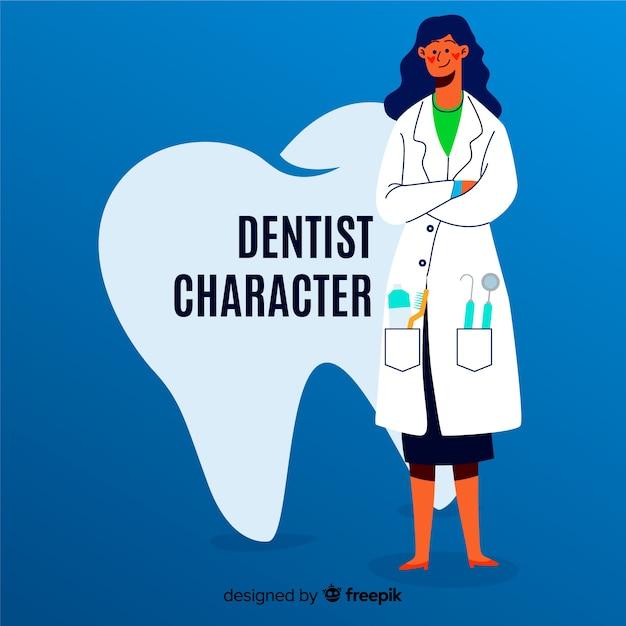 Personagem dental plana Vetor grátis
