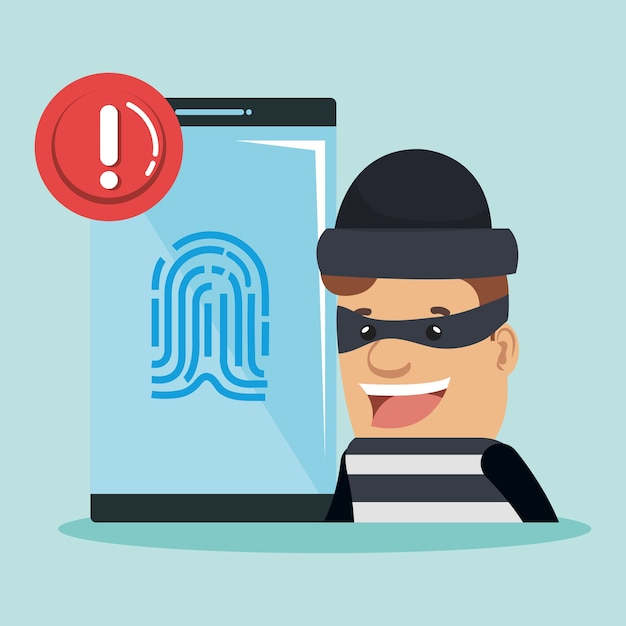 Personagem do avatar da identidade do roubo Vetor Premium