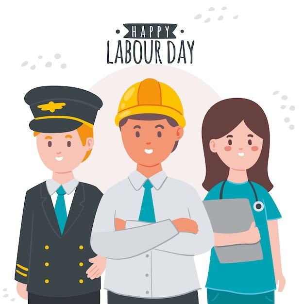 Personagem e dia do trabalho de mão desenhada Vetor Premium