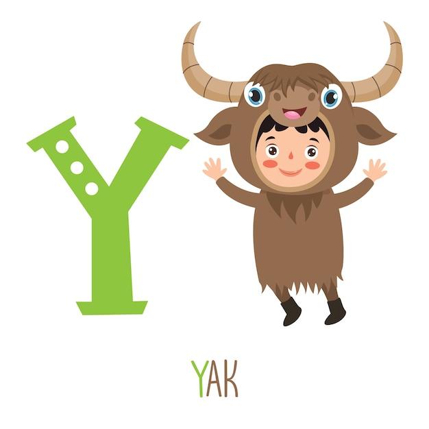Personagem em fantasia de animal mostrando a letra do alfabeto Vetor Premium