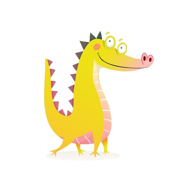 Personagem engraçada de dragão crocodilo ou jacaré Vetor Premium