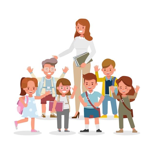 Personagem feliz professor e aluno. apresentação em várias ações com emoções, em pé e andando. Vetor Premium