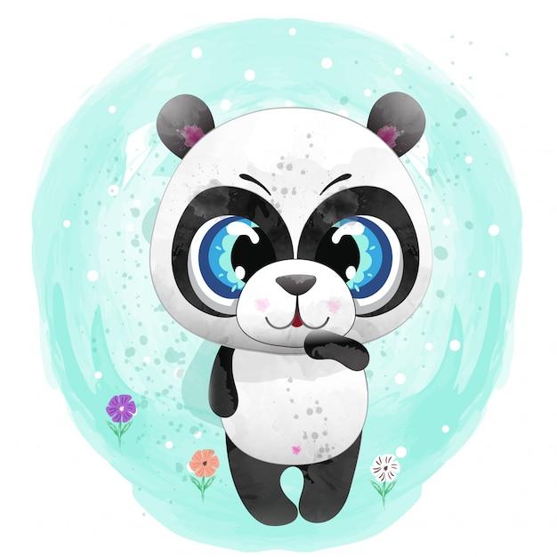 Personagem fofinho de bebê panda pintado com vetor de prémio em aquarela Vetor Premium