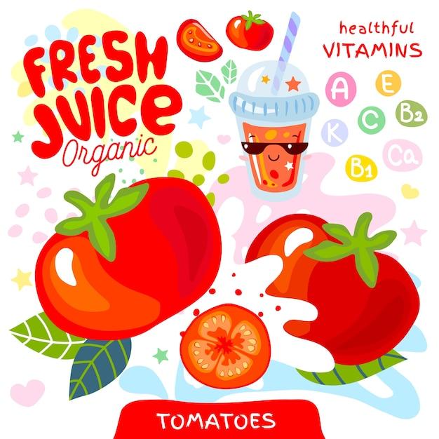 Personagem kawaii de vidro orgânico de suco fresco. estilo de crianças engraçadas de vitamina de vegetais de respingo suculento abstrato. copo de suco de tomate vegetal e tomate. ilustração. Vetor Premium