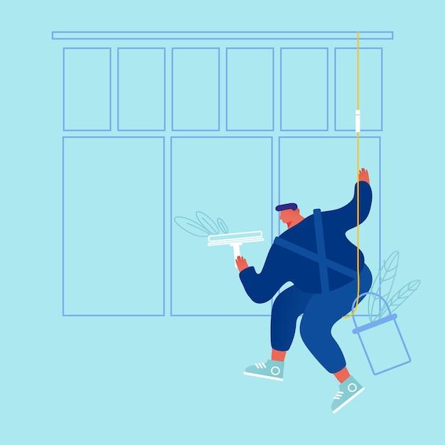 Personagem masculino vestindo macacão azul janela de lavagem uniforme com limpador pendurado em cordas. homem, funcionário profissional da empresa de limpeza, processo de trabalho, serviço de limpeza, desenho animado Vetor Premium