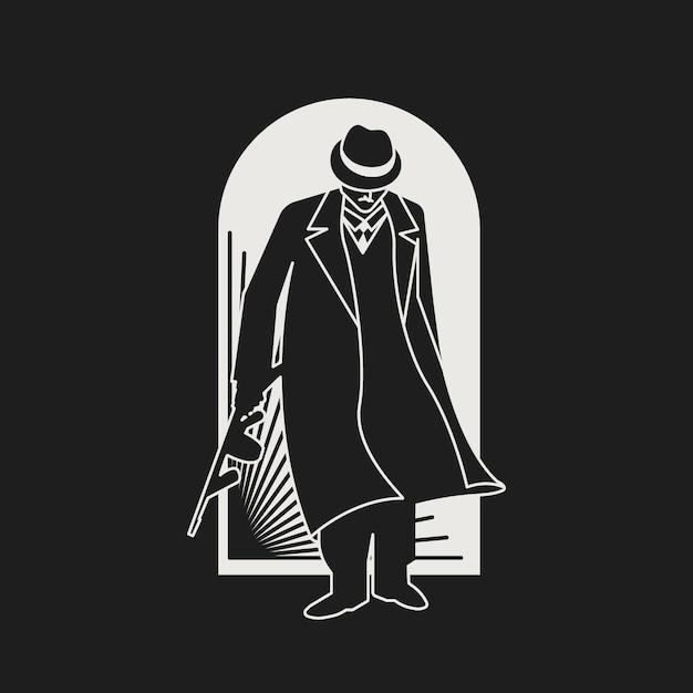 Personagem misterioso de gangster / máfia Vetor grátis