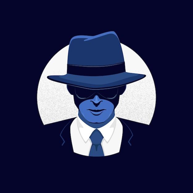 Personagem misterioso gangster Vetor grátis