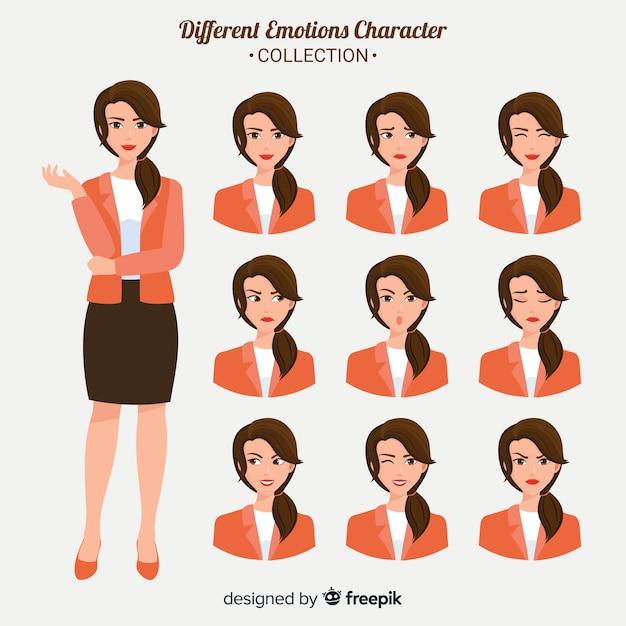 Personagem mostrando emoções Vetor Premium
