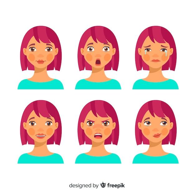 Personagem mostrando emoções Vetor grátis