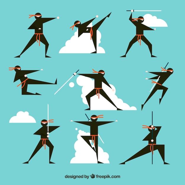 Personagem ninja bonito em poses diferentes, com design plano Vetor grátis