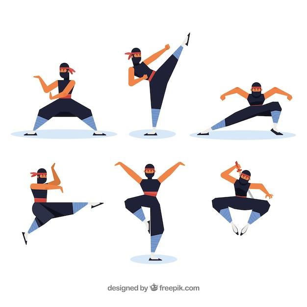 Personagem ninja em poses diferentes com design plano Vetor Premium
