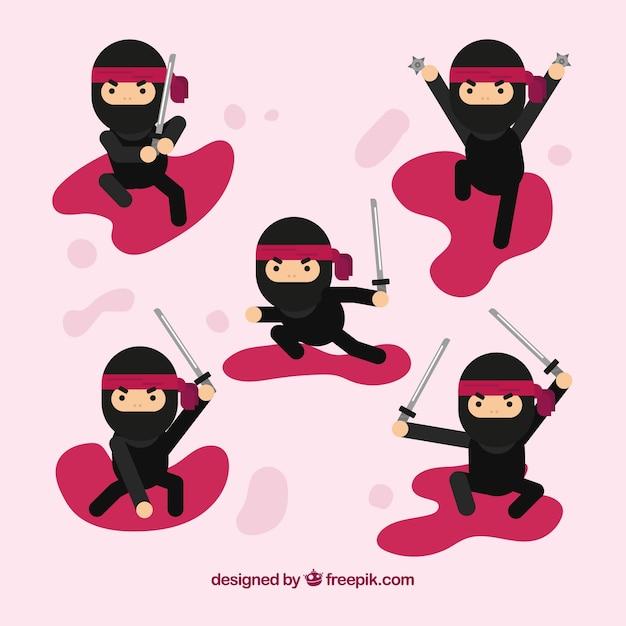 Personagem ninja em poses diferentes Vetor grátis