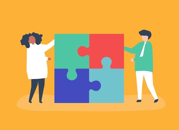Personagem, par, resolvendo, quebra-cabeça, pedaços, ilustração Vetor grátis