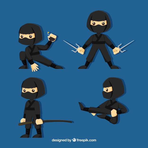 Personagem plana ninja em poses diferentes Vetor grátis