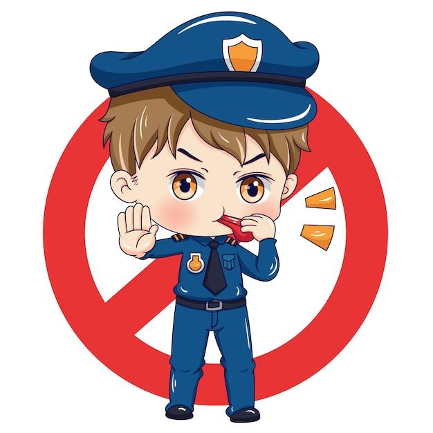 Personagem policial Vetor Premium