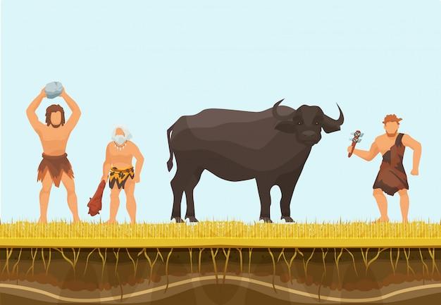 Personagem primitiva de caçadores ou homens das cavernas com ilustração vetorial de touro selvagem. caça com armas primitivas. Vetor Premium