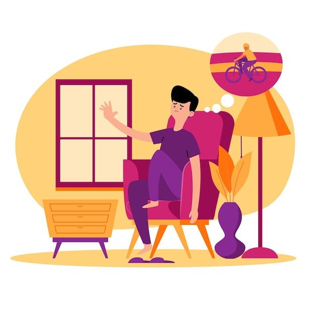 Personagem sentado na casa e pensando em bicicleta Vetor grátis