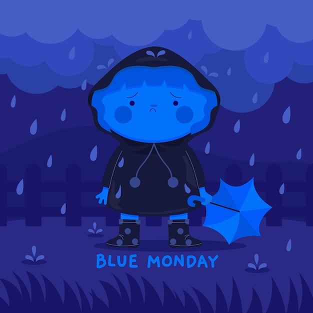Personagem triste na segunda-feira azul Vetor grátis