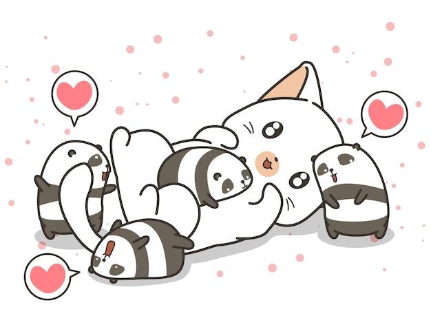 Personagens adoráveis de gatos e pequenos pandas Vetor Premium
