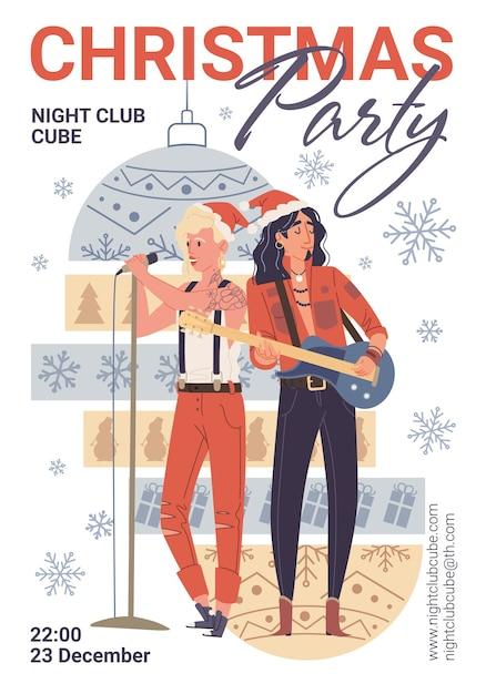 Personagens cantando, tocando violão, panfleto de festa de natal Vetor Premium