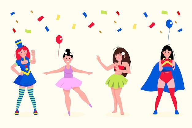 Personagens com fantasias de carnaval cercados por confetes Vetor grátis