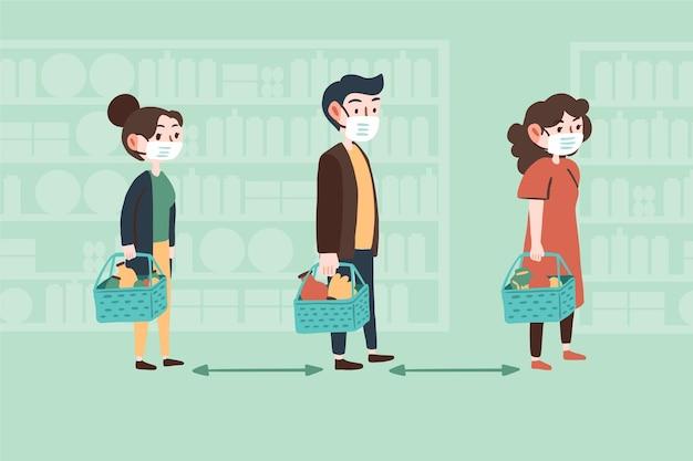 Personagens comprando com distância segura Vetor grátis