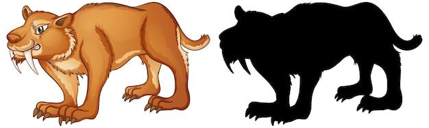 Personagens da sabertooth e sua silhueta em fundo branco Vetor grátis