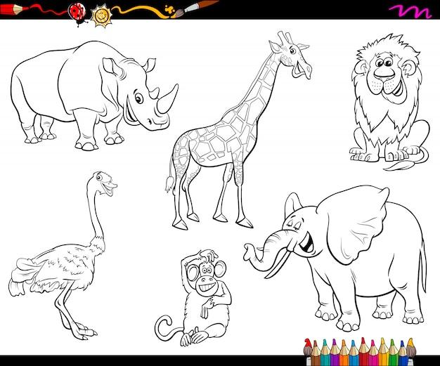 Zoológico De Animais Bebê Dos Desenhos Animados Vetor: Personagens De Animais Dos Desenhos Animados De Safari
