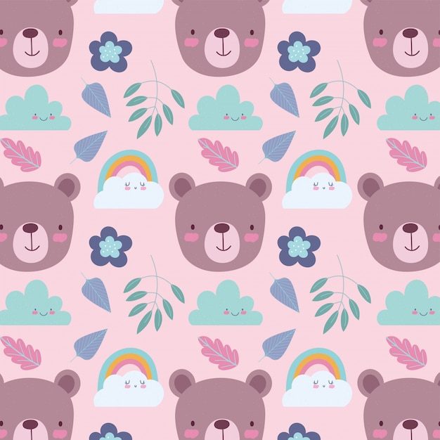 Personagens de animais fofos dos desenhos animados urso enfrenta fundo de folhas e flores de nuvens de arco-íris Vetor Premium