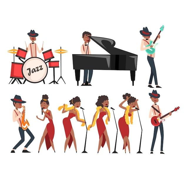 Personagens de artistas de jazz definidos em branco. homem negro tocando bateria, piano de cauda, guitarra elétrica e saxofone. cantora em diferentes poses. conceito de banda musical. desenho animado . Vetor Premium