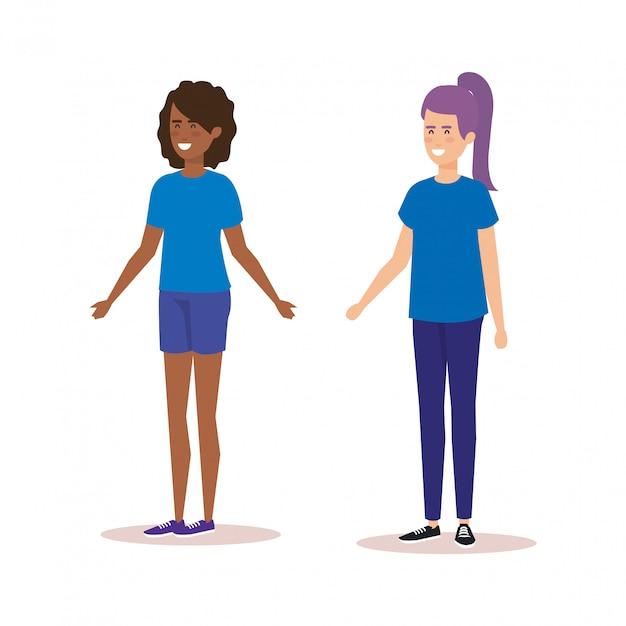 Personagens de avatares de meninas casal Vetor grátis