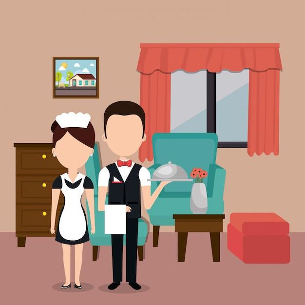 Personagens de avatares de trabalhadores de hotel Vetor grátis
