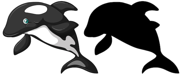 Personagens de baleias assassinas e sua silhueta em fundo branco Vetor grátis