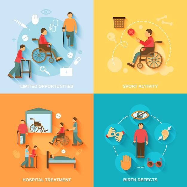 Personagens de cadeira de rodas com deficiência e composição de elementos definida plana Vetor grátis