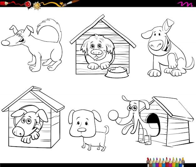 Personagens De Caes Engracados Dos Desenhos Animados Para Colorir